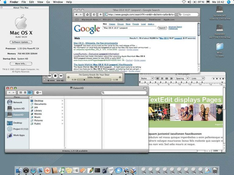 Leopard Finder, Safari, TextEdit
