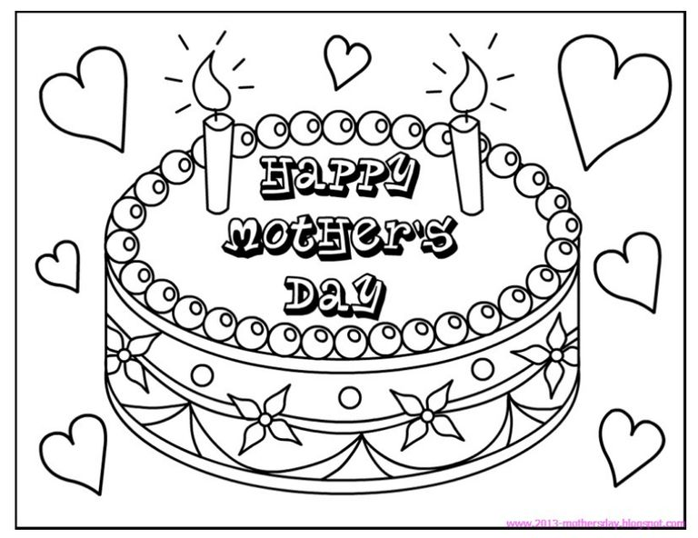 Coloringtops Free Mothers Day Coloring Pages A Cake That Says Happy