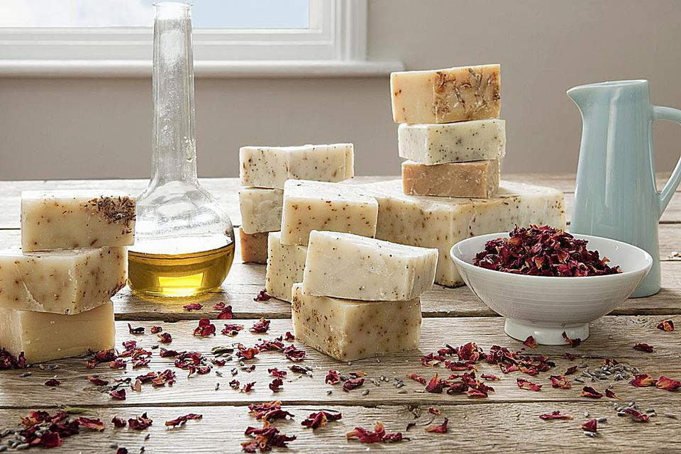 still life of homemade soaps, with ingredients