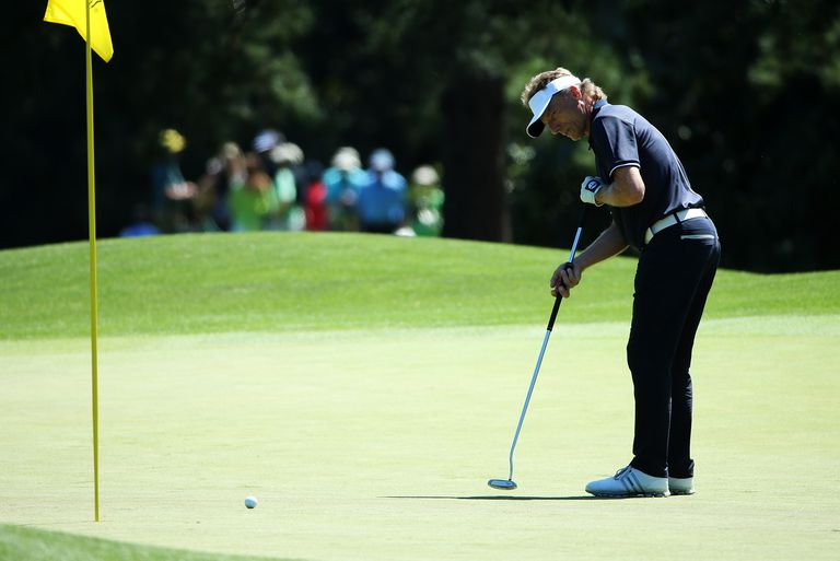 Bernhard Langer of Germany putts during a practice round prior to the start of the 2016 Masters Tournament at Augusta National Golf Club on April 5, 2016