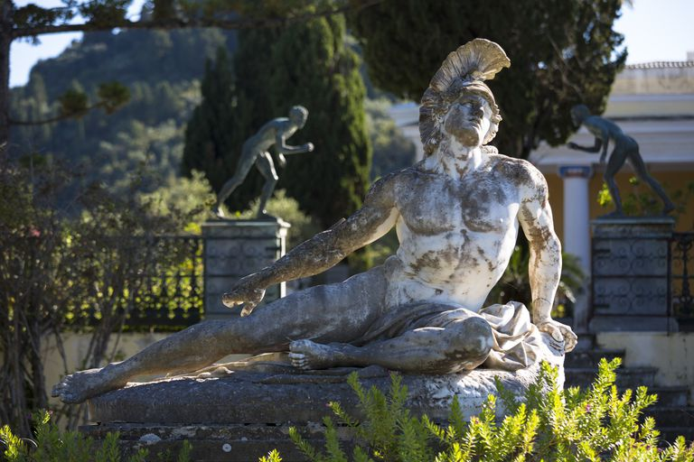 Statue of Dying Achilles at Achilleion Palace & Museum in Corfu, Greece