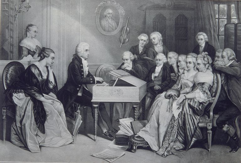 Wolfgang Amadeus Mozart composed the Haffner Symphony during the summer of 1782. Found in the collection of Moscow's Russian State Library, this picture shows a House Concert at the Mozart family home in Vienna (19th century).
