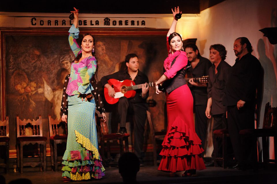 Two women dancing flamenco in the flamenco restaurant Corral de la Maoreira, Madrid, Spain