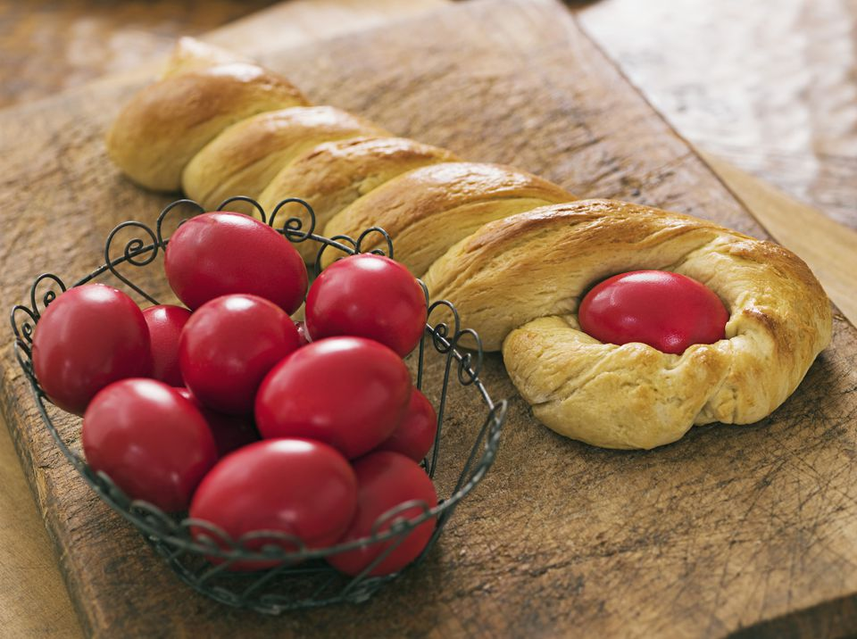 Greek Easter bread with eggs