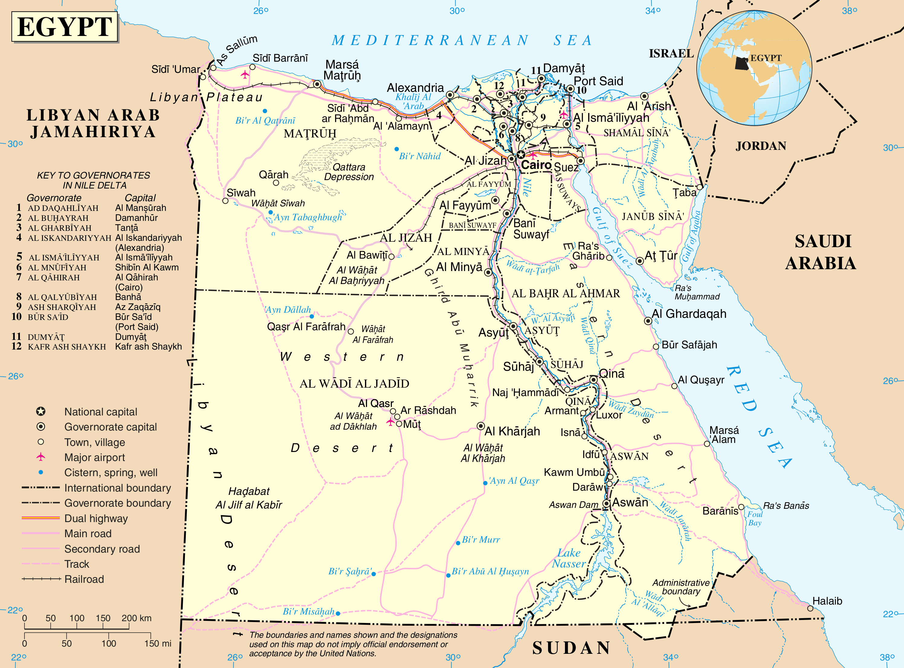 Egypt Country Map And Essential Information - Map of egypt valley ohio