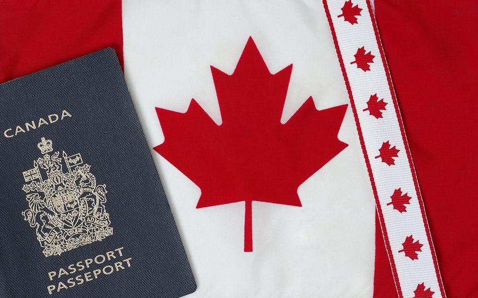 Canadian travel documents & flag