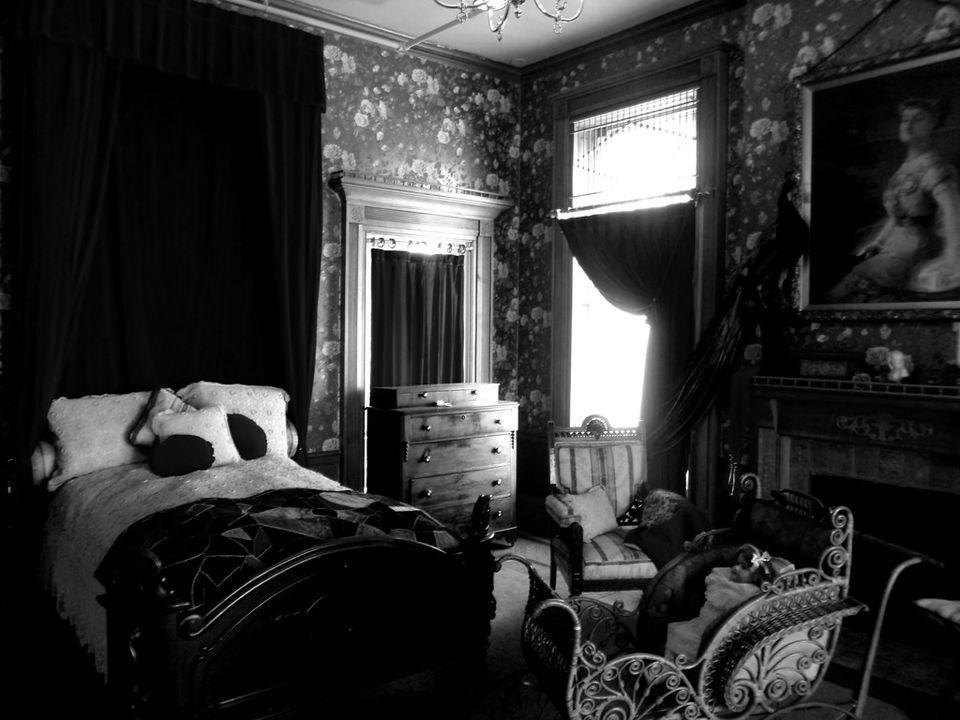 A dark bedroom