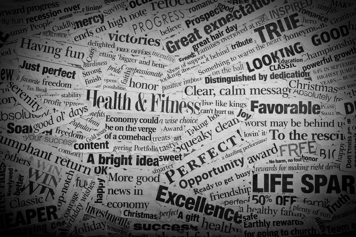 word strips pasted on paper