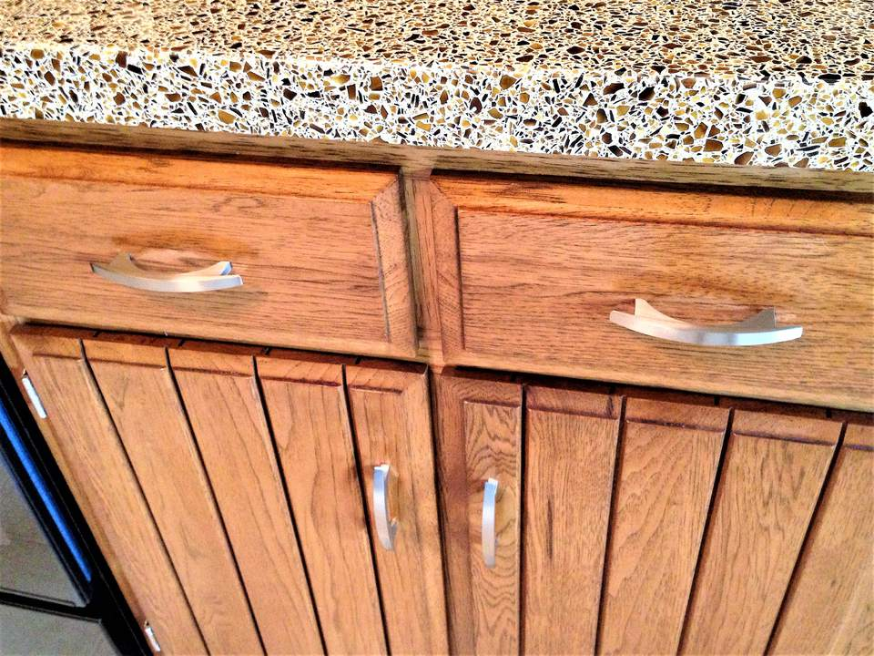 Refaced Kitchen Cabinets with Quartz Countertop