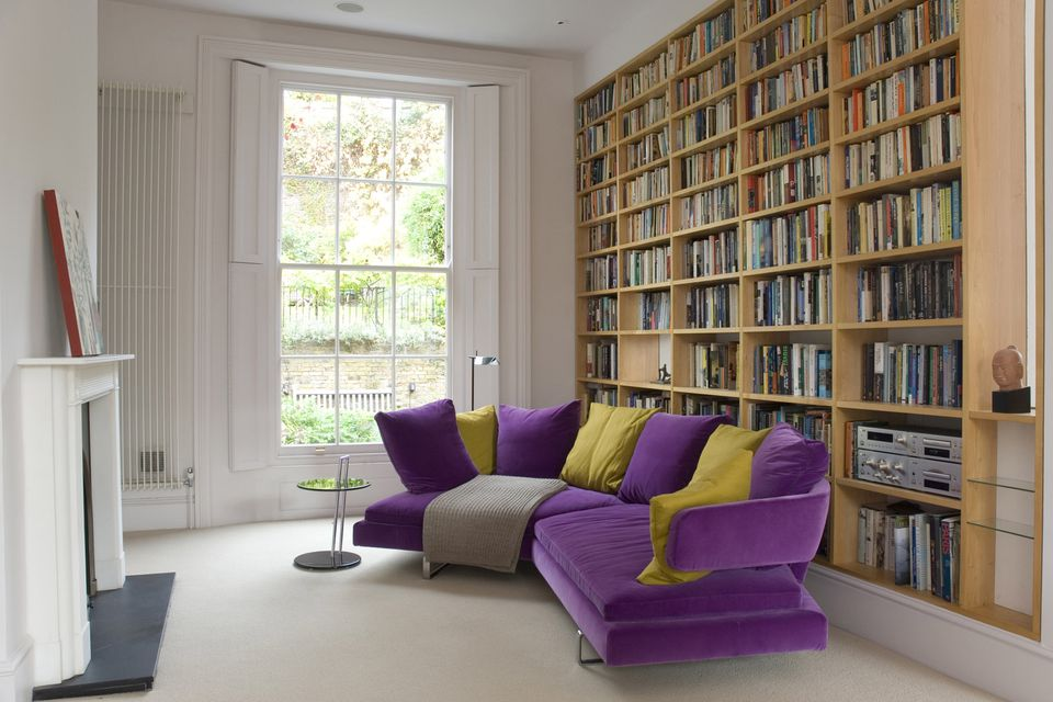 ultra violet sofa in townhouse