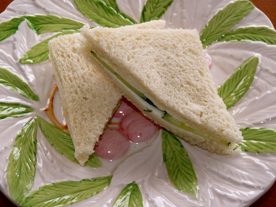 Cucumber and Cream Cheese Tea Sandwich