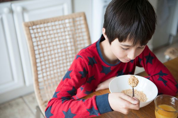 Boy eating cereal