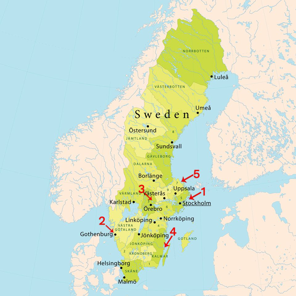 Locations of Nude Beaches in Sweden