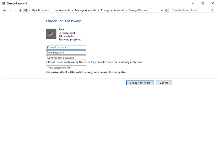 Screenshot of how to change a different user's password in Windows 10