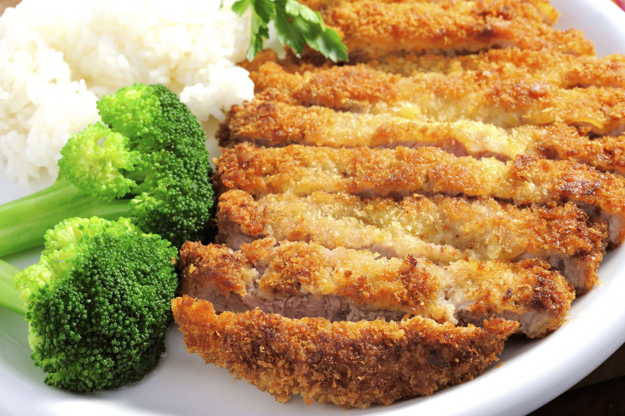 Breaded Baked Pork Chops With Rice And Broccoli Recipe