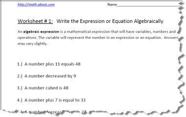 pre algebra worksheets for writing expressions. Black Bedroom Furniture Sets. Home Design Ideas