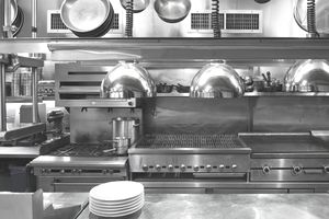 USA, New York, New York City, interior of commercial kitchen