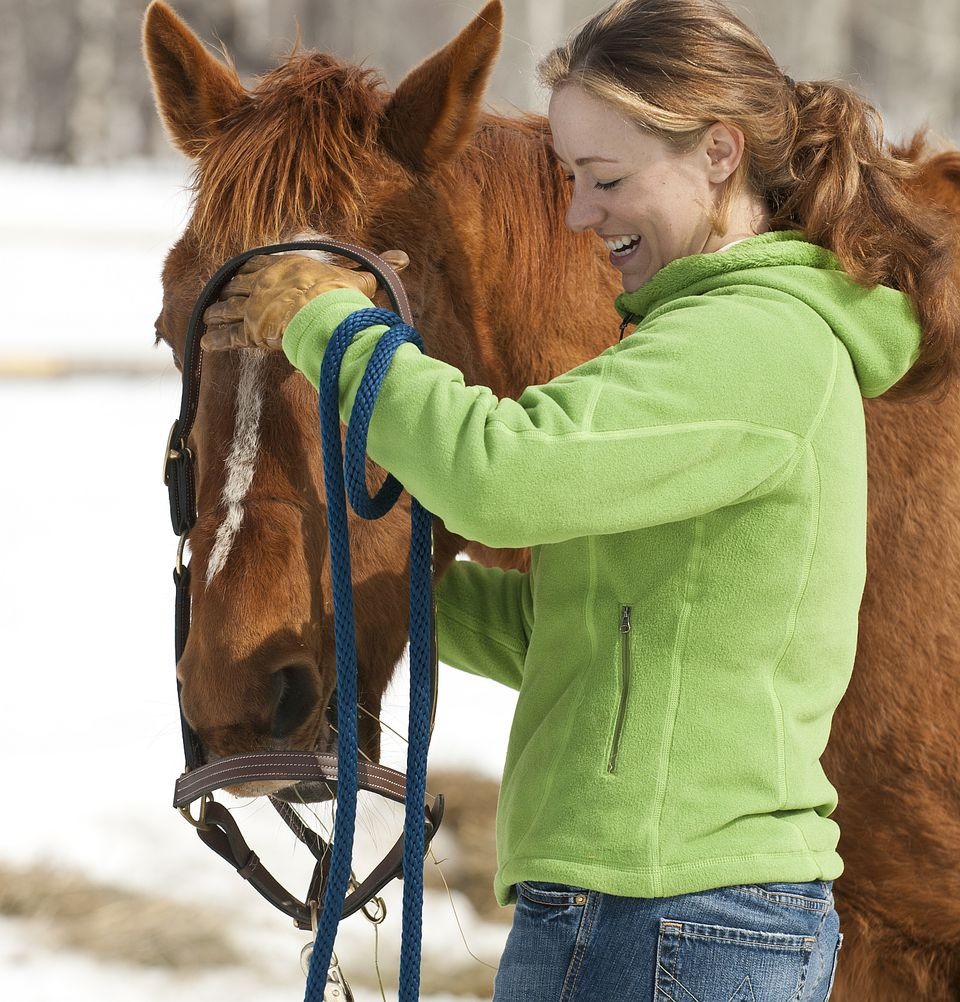 Woman putting halter on horse.