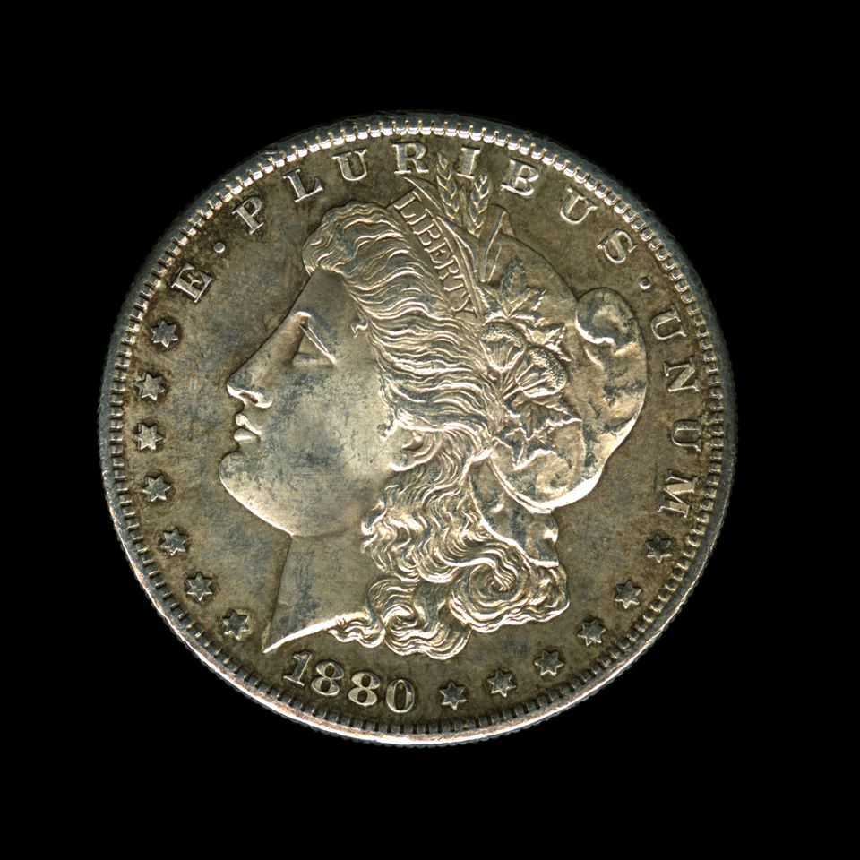 1880 US Morgan silver dollar coin