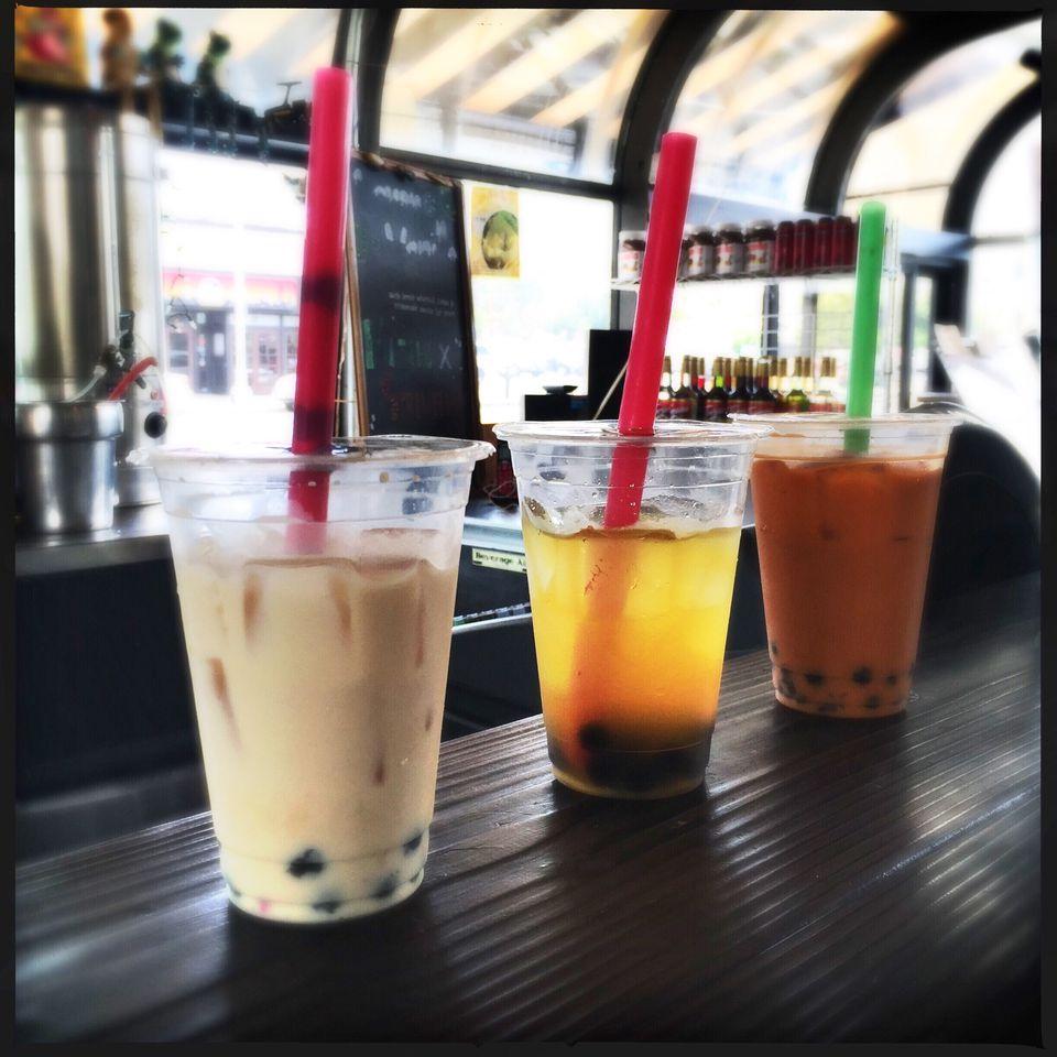 Plastic Cups With Tapioca Drinks