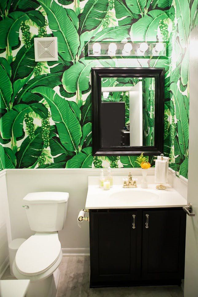 banana leaf wallpaper bathroom