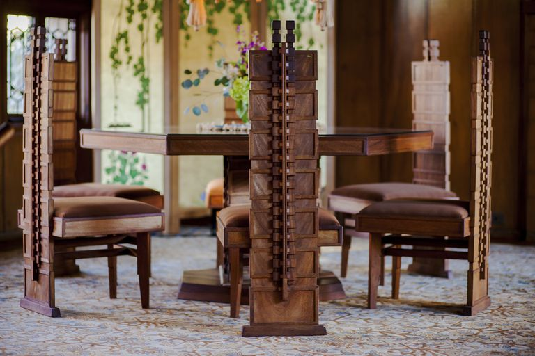 Table and chairs for Frank Lloyd Wright's Hollyhock House