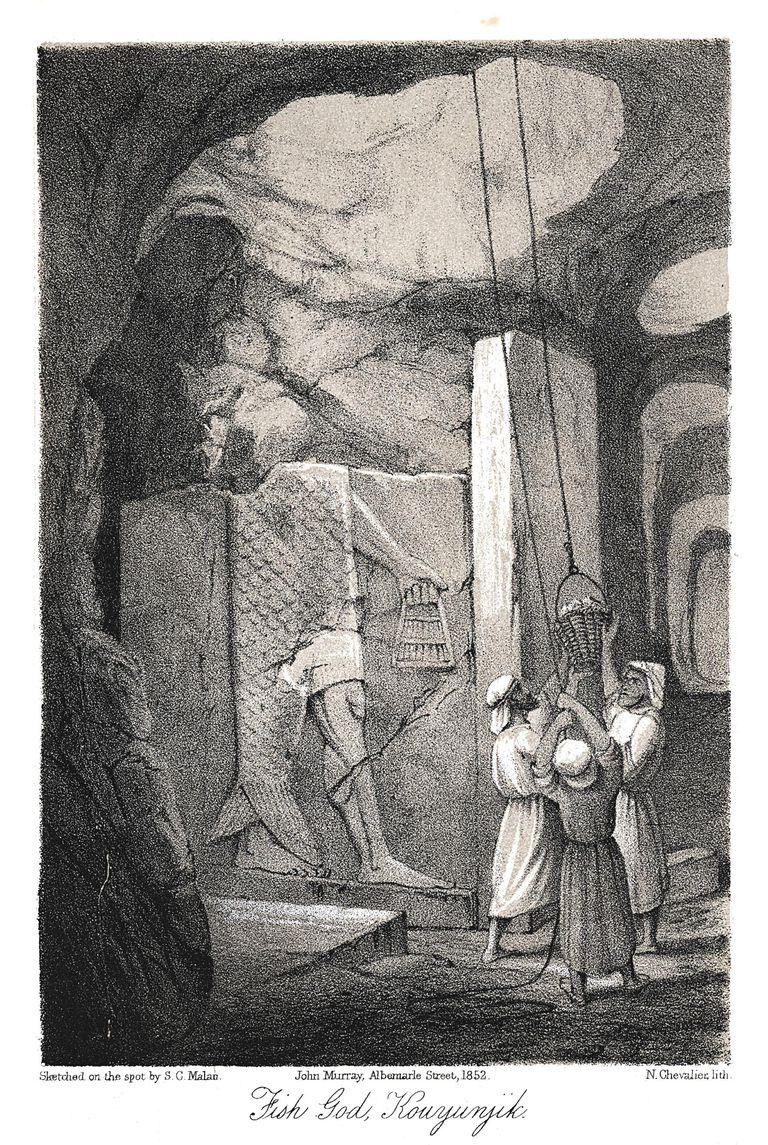 Excavating a low-relief carving of the Fish god Dagon, Nineveh, 1853. Artist: N Chevalier