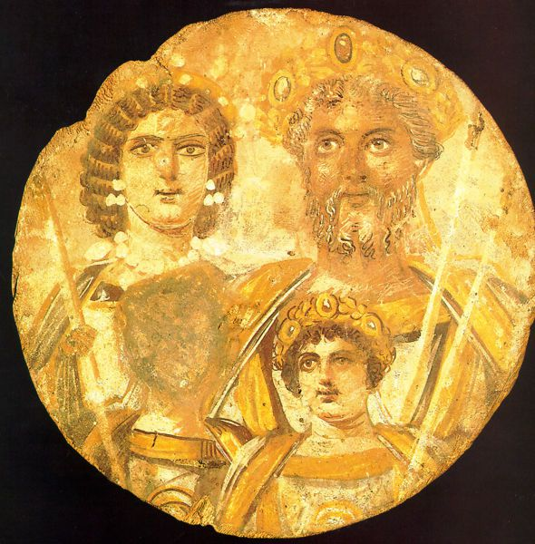 Severan Dynasty showing Julia Domna, Septimius Severus, and Caracalla, but no Geta