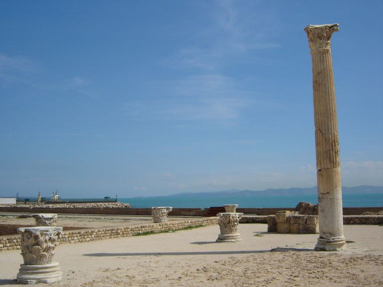 Column at the excavation site of the Antoninus Pius Therms in Carthage