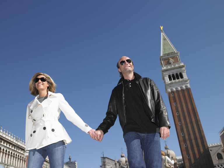 Couple walking in Venice, Italy