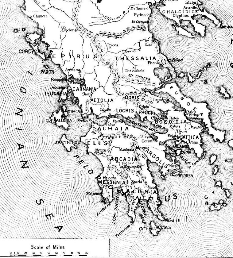 Map Showing the Peloponnesus