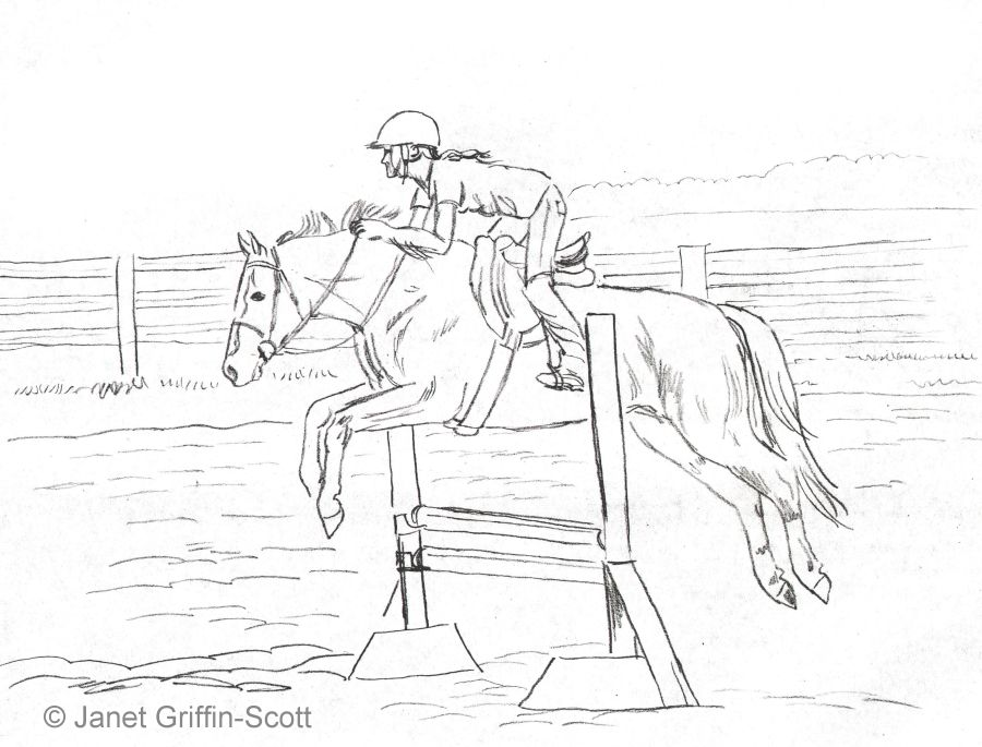 Draw a horse show jumper in colored pencil ccuart Images