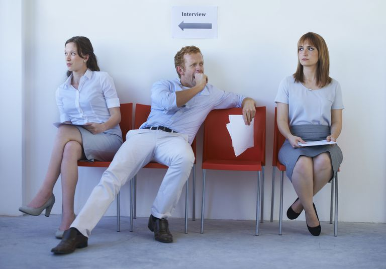 Three people sitting in a waiting room display 3 different types of posture.