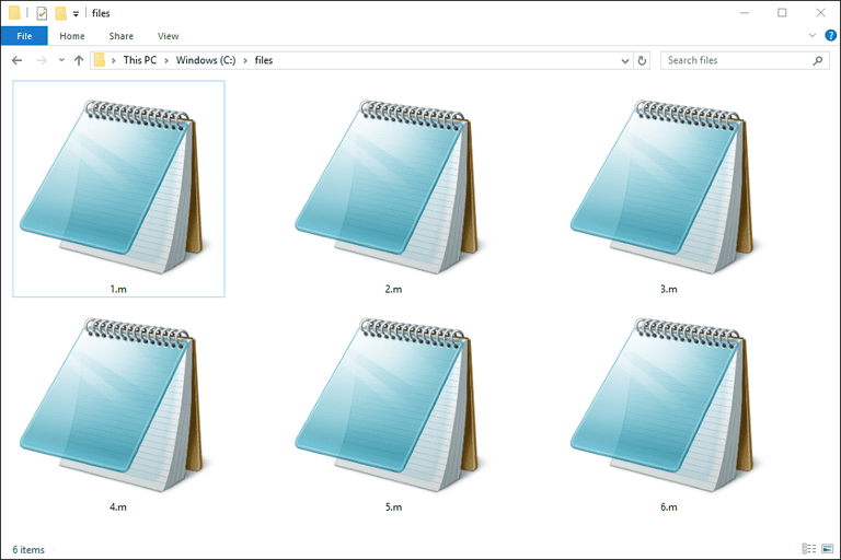 Screenshot of several M files used with Notepad in Windows 10