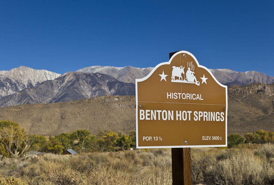 Roadside billboard for Benton Hot Springs