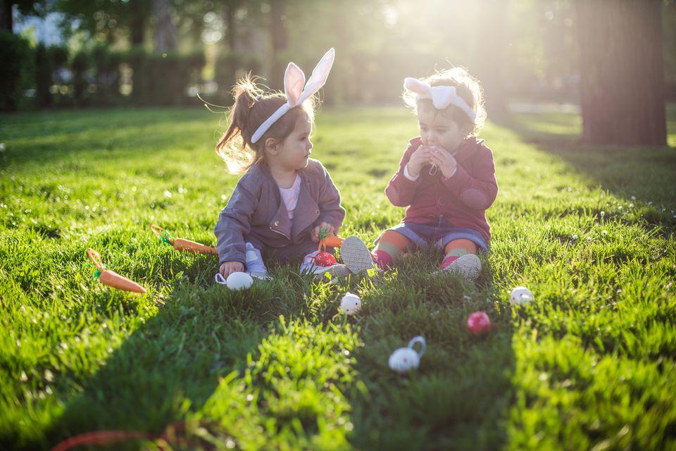 Children wearing costume bunny ears