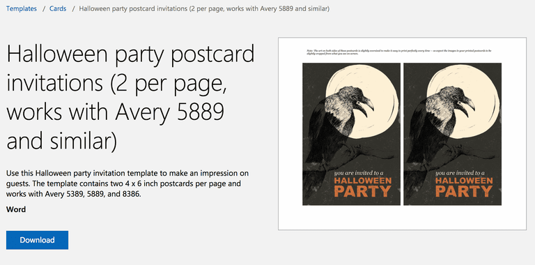 Free halloween templates for microsoft word raven halloween party invitation postcard template for microsoft word stopboris Choice Image