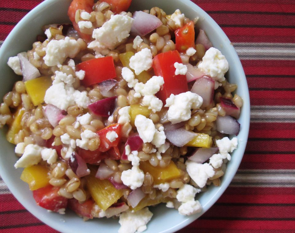 Vegetarian whole grain Greek-style barley salad - isn't it beautiful?