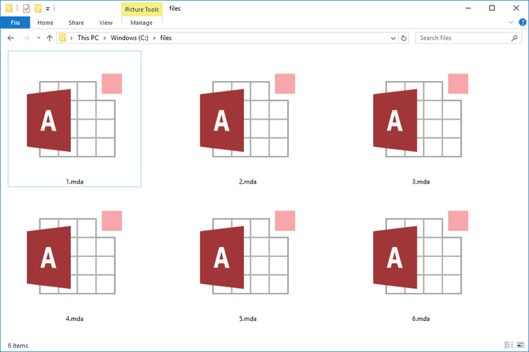 Screenshot of several MDA files in Windows 10