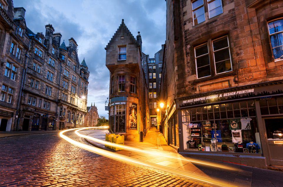 The evening streets of Edinburgh.