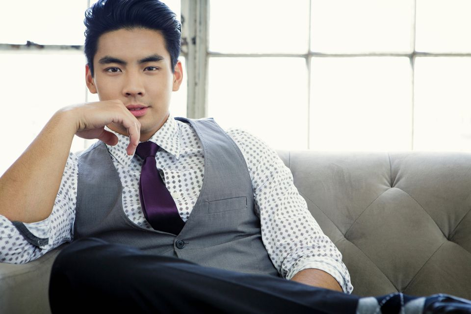 asian young man in tie