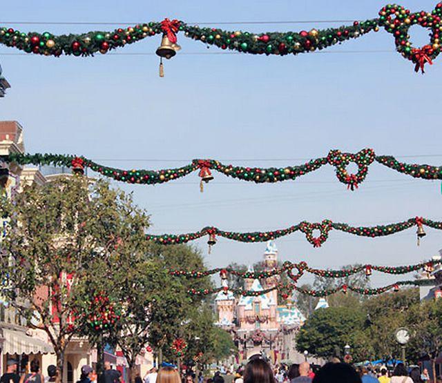 Main Street U.S.A. at Disneyland during Christmas.