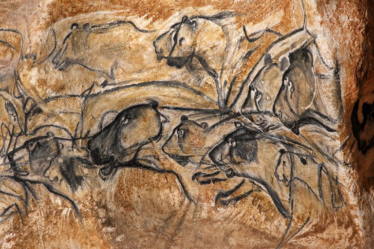 Replica Of Chauvet Cave Painting of a Pride of Lions