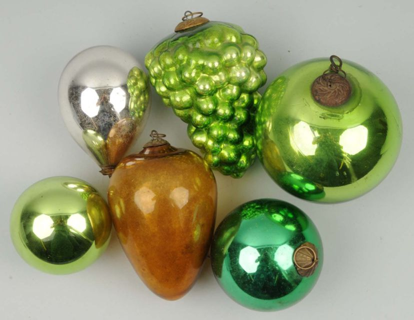A variety of Kugel ornaments dating to the late 1800s.