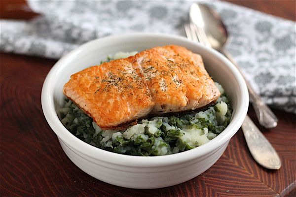 salmon over potatoes and kale