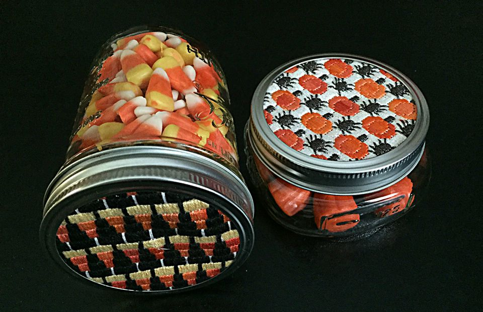 Halloween Needlepoint Jar Tops