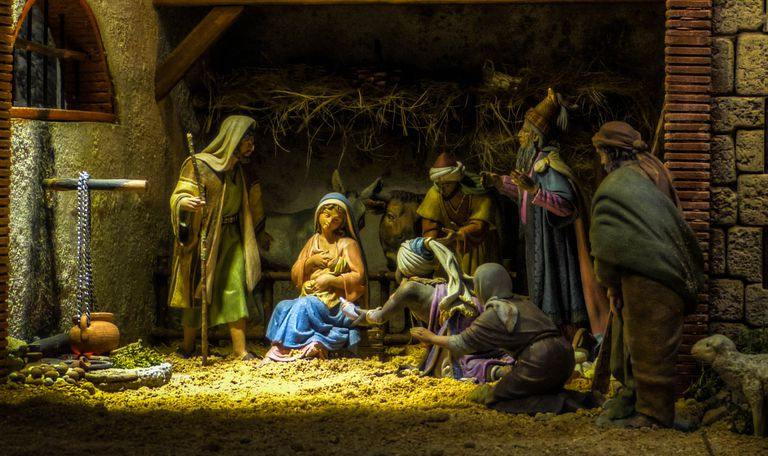 Silent Night, nativity scene in Compostela, Spain.
