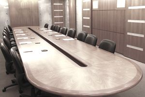 Picture of a large desk in conference room