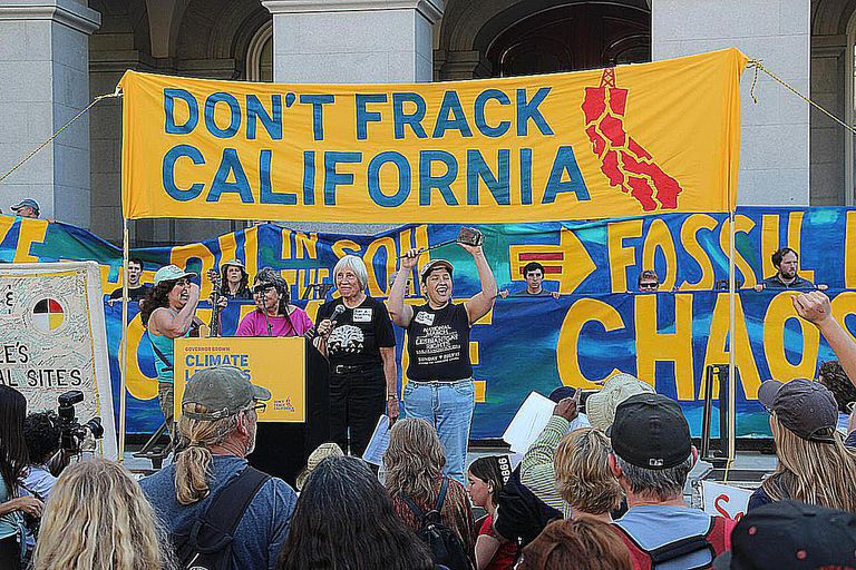 Women speak at a protest rally as part of the anti-Fracking movement in California. The 2010 film Gasland drew attention to this issue.