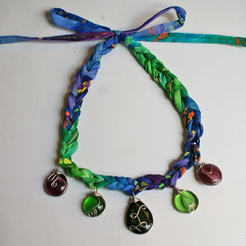 Crocheted Necklace With Wire-Wrapped Pendants